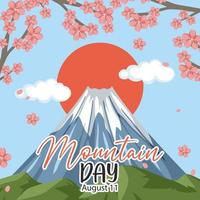 Mountain Day in Japan banner with Mount Fuji vector
