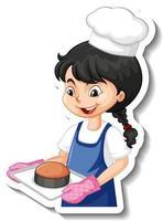 Cartoon character sticker with baker girl vector