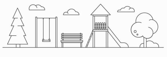 Playground for children. Line art illustration. Landscape vector