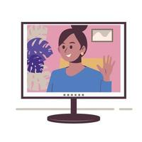 Chatting online. Girl on the monitor screen. Work at home vector