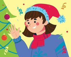 A girl in a Santa hat near the Christmas tree. Christmas character. vector