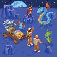 Aliens Isometric Background Vector Illustration