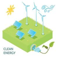 Clean Energy Isometric Concept Vector Illustration