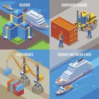 Four Seaport Isometric Icon Set Vector Illustration
