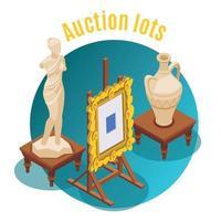 Auction Isometric Background Vector Illustration