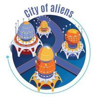 Isometric Aliens Composition Vector Illustration