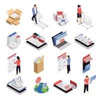 Mobile Shopping Icons Set Vector Illustration