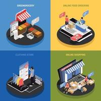 Mobile Shopping Concept Icons Set Vector Illustration