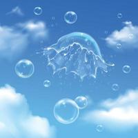 Bubbles Explosion On Sky Composition Vector Illustration