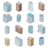 Townhouse Building Icons Set Vector Illustration