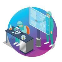 Microbiology Isometric Emblem Vector Illustration