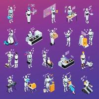 Robot Isolated Professions Icon Set Vector Illustration