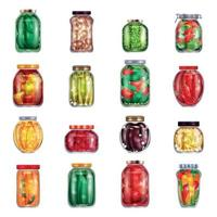 Marinated Pickles Jars Collection Vector Illustration