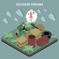 Ilustración de vector de composición isométrica de sueños de soldados