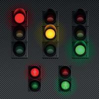 Traffic Lights Realistic Transparent Icon Set Vector Illustration