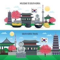 Ilustración de vector de banners horizontales de corea del sur
