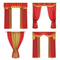 Luxury Curtains Realistic Icon Set Vector Illustration