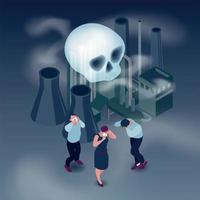 Pollution Isometric Concept Vector Illustration