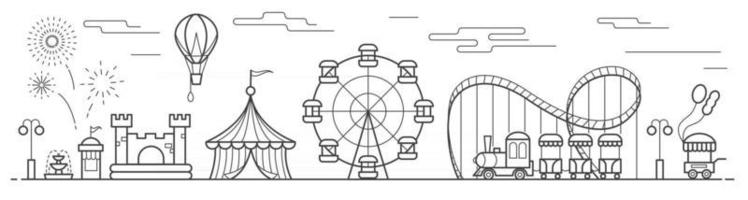 Panorama of an amusement park with a ferris wheel, circus, rides vector