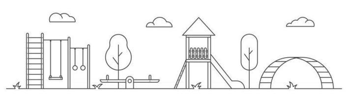 Playground for children. Line art illustration. Landscape of park vector