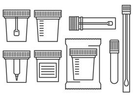 Laboratory tests containers. Test urine, biomaterial, feces, semen vector