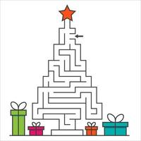 Cristmas tree maze labyrinth game for kids. Labyrinth logic conundrum vector
