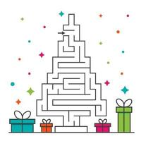 Christmas tree maze labyrinth game for kids. Labyrinth logic conundrum vector
