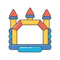 Bouncy inflatable castle. Tower and equipment for child playground. vector