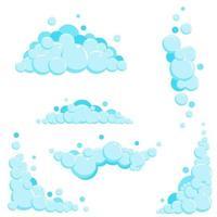 Cartoon soap foam set with bubbles. Light blue suds of bath, shampoo vector