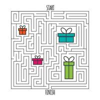 Square maze labyrinth game for kids. Labyrinth logic conundrum. vector
