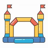 Bouncy inflatable castle. Tower and equipment for child playground vector