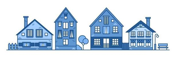 Traditional european style houses in old town. Neighborhood vector