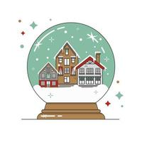 Christmas glass snow globe with a small houses. New Year gift. Flat vector