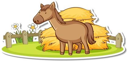 Cartoon character of a horse in the farm sticker vector