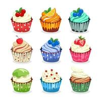 Sweet and colorful cupcake set with fruit topping vector