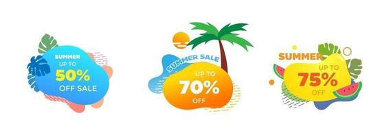 Set of Summer sale banner template. Liquid abstract geometric bubble with tropical, tree, water melon and sun. Promo badge for seasonal offer, promotion, advertising. Vector