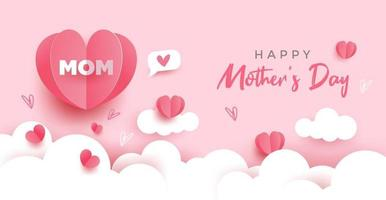 Happy Mother's day card. Paper cut with hearts, clouds and bubble speech on pink pastel background. Vector illustration