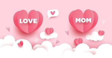 Mother's day card. Paper cut with hearts, clouds and bubble speech on pink pastel background. Vector illustration