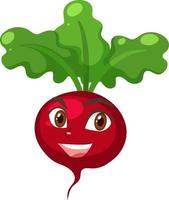 Radish cartoon character with happy face expression vector