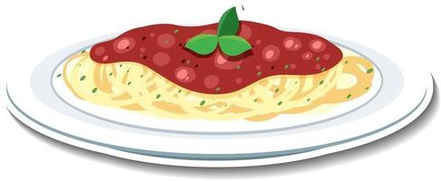 Spaghetti bolognese sticker on white background vector