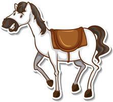 A cute horse cartoon animal sticker vector
