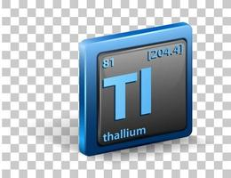 Thallium chemical Chemical symbol with atomic number and atomic mass vector