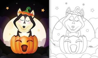 coloring book with a cute husky dog in the halloween pumpkin vector
