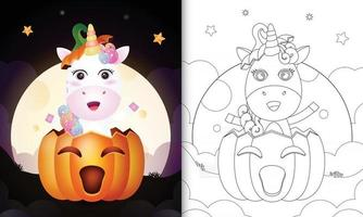 coloring book with a cute unicorn in the halloween pumpkin vector