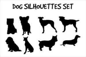 Conjunto de siluetas de razas de perros. alta ilustración vectorial detallada y suave vector