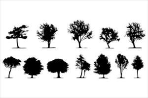 vector detallado de siluetas de árboles