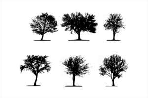 six set of tree silhouette vector