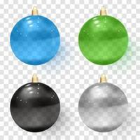 Transparent glass Christmas balls.Realistic Christmas glass balls vector