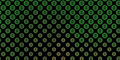Dark Green, Yellow vector template with esoteric signs.