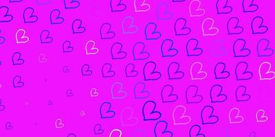 Light Pink, Blue vector background with Shining hearts.